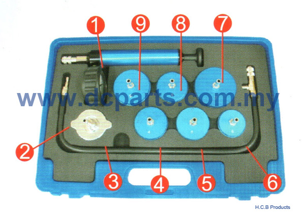General Truck Repair Tools TRUCK RADIATOR PRESSURE TEST KIT 9 PICS A1412